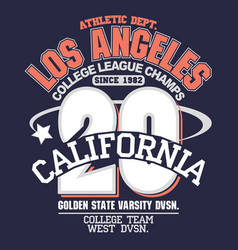 california sport wear t-shirt typography design vector image
