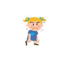 Cartoon character girl angry vector