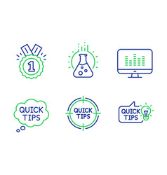 Chemistry lab quick tips and approved icons set vector