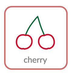 cherry icon red cherries outline flat berry sign vector image