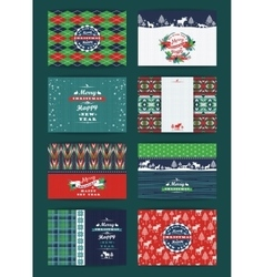 Christmas and New Year Set Plaid and knitted vector