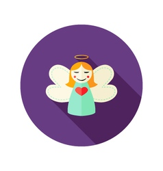 Christmas Girl Angel Flat Icon vector image