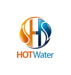 circle hot water drop initial letter h logo vector image