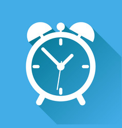 clock icon flat design with long shadow on blue vector image