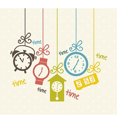 Clock icons over beige background vector