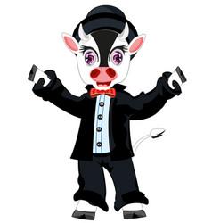 Cow in suit vector