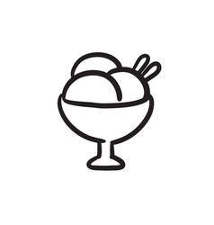 cup of an ice cream sketch icon vector image