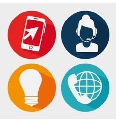 Customer service set flat icons vector