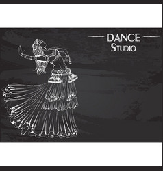dance line chalk tribal belly dance vector image