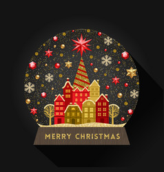 Decorative flat snow globe christmas vector
