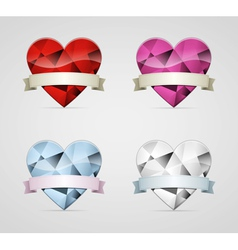 Diamond heart with ribbon set vector
