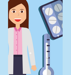 doctor female and thermometer pills medicine vector image