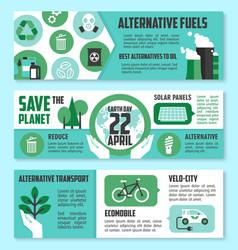 earth day ecological banner set design vector image