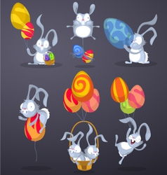 Easter rabbits with eggs in the form of balloons vector
