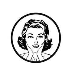 Face woman pop art style comic outline vector