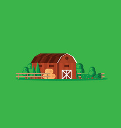 Farm barn with haystacks on green background vector