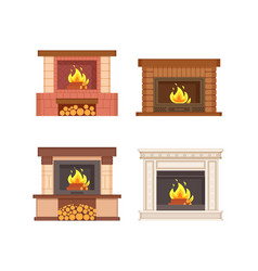 Fireplaces with wooden logs isolated icons set vector