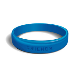 friends - blue plastic wristband vector image