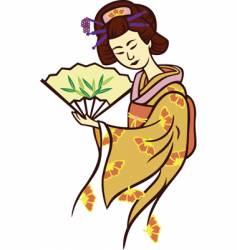 geisha dance fan vector image