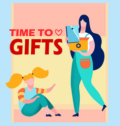 girl getting present cartoon vector image
