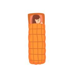 girl sleeping in an orange sleeping bag view from vector image