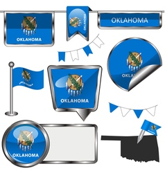 Glossy icons with Oklahoman flag vector image
