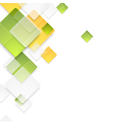 Green and orange glossy squares background vector