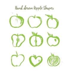 Green apple logo set in grunge style isolated on vector