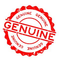Grunge red genuine word round rubber seal stamp vector