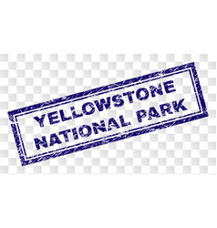 Grunge yellowstone national park rectangle stamp vector