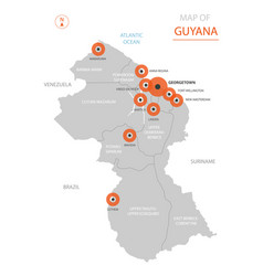 guyana map with administrative divisions vector image