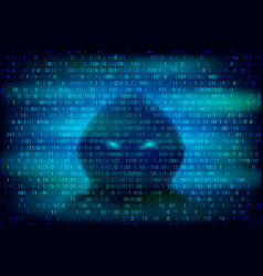 Hacker silhouette on blue background vector