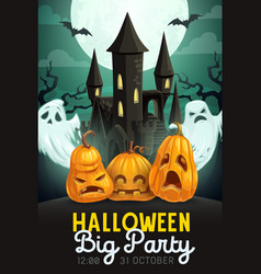 Halloween pumpkins and ghosts with haunted house vector