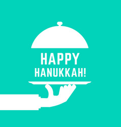 Happy hanukkah text with white serving hand vector