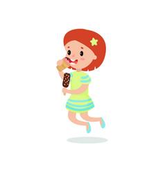 Happy redhead girl licking ice cream cartoon vector