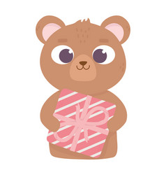 happy valentines day cute bear with gift love vector image