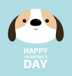 Happy valentines day dog face head round icon vector