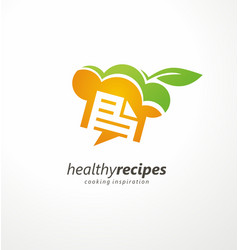 Healthy recipes cooking inspiration creative logo vector