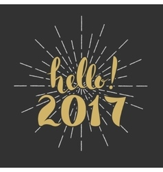 Hello 2017 Merry Christmas Happy New Year Hand vector