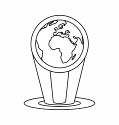 Hologram globe icon outline style vector