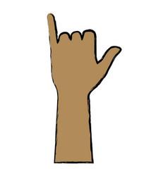 Human hand gesturing shaka symbol vector