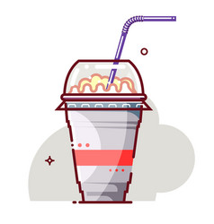 Ice cream milkshake in disposable cup with vector