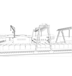 Industrial zone with buildings and cranes vector