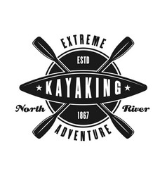kayaking sport club emblem in vintage style vector image
