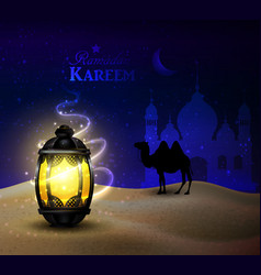 lanterns stands in desert at night sky vector image