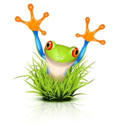 Little frog in grass vector