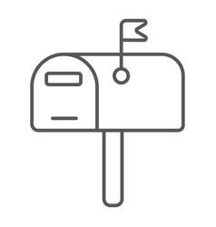 Mailbox thin line icon post and address pobox vector