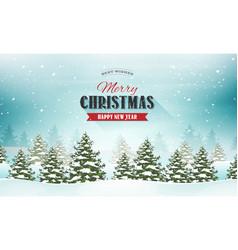 Merry christmas landscape postcard vector