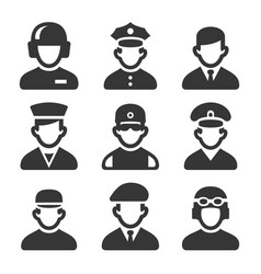 military soldier avatars set on white background vector image