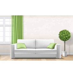 Modern interior with sofa window green curtain vector